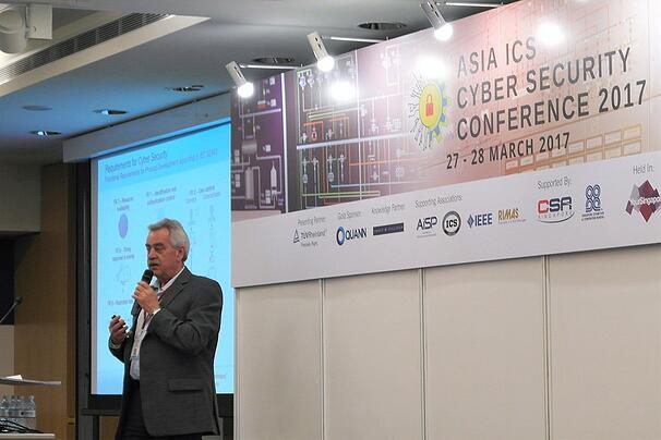 Mr. Heinz Gall delivering his presentation in Asia ICS Cyber Security Conference 2017 in Singapore.