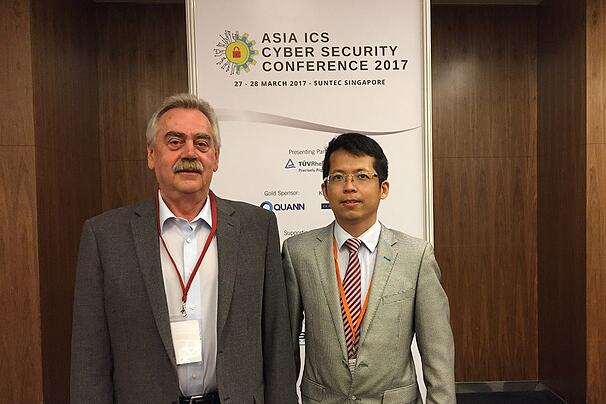 Mr. Heinz Gall and Mr. Chen Zhen Kang Industrial Services Manager, the main contact point for Industrial Cyber Security in Singapore.